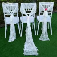 White Floral Lace Table Runner Table Cloth Chair Sash Wedding Party Table Decor