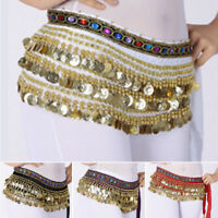 Belly Dance Gold Coin 3 Rows Belt Hip Scarf Skirt Wrap Chain Costume 4 Colours