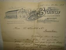antique 1902 germany Vincenc Balcar letter business card ad logo factory