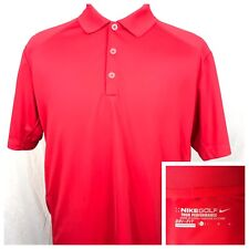 Nike Golf Tour Performance Dri-Fit S/S Polo Shirt Men's Large Red Stretchy