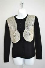 Valentino Night Vintage Black Sweater Cardigan w/ Ribbon Embroidered Front S