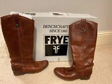 Frye Phillip Melissa Button Tall Cognac Boots Size 7 Medium EUC