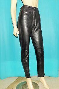 pantalon HELICOS coupe droite taille haute en cuir agneau noir taille 38