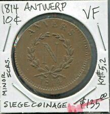 ANTWERP,SIEGE COINAGE-RARE HISTORICAL NAPOLEON BRONZE 10 CENTIMES, 1814, KM# 5.2