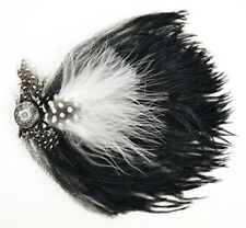 """Black & White Ostrich Feather Hat Pin W/ Guinea & silver button 6"""" Pin attached"""