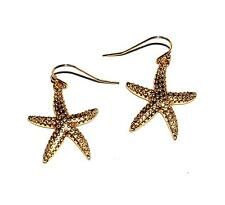 EARRINGS Wires GT Large Textured Dangles Goldtone Star Fish STARFISH