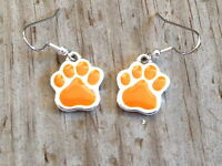 Large Orange Dog Cat Tiger Paw Print Imitation Rhodium Plated Enameled Earrings