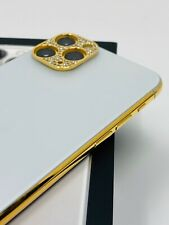 CUSTOM 24K Gold Plated Apple iPhone 11 Pro - 256GB - Silver Unlocked- Diamond Rh