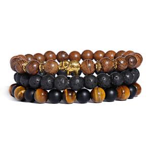 Natural Stone Bracelet Lava Tiger Healing Round Beaded Ethnic Bracelet For Men