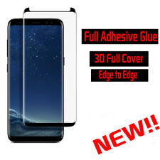 For Samsung S8 Full Adhesive Premium Full Tempered Glass Screen Protector -Black