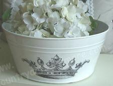 Große Schale, Wanne,  Pflanzenschale * KRONE * Metall weiß, 30 cm, Shabby French