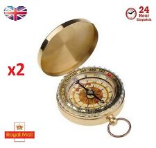 2 x Military Gold Brass Pocket Compass Watch Camping Hiking Compass Keyring