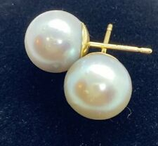South Sea Silver Pearl Stud Earrings Set In 14k yellow Gold 9mm