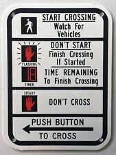 Traffic Light Pedestrian Crosswalk Instructions Push Button Sign New Old Stock