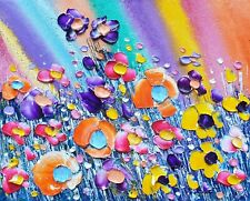 Abstract Meadow Flowers in Love, an original oil painting on canvas, Phil Broad