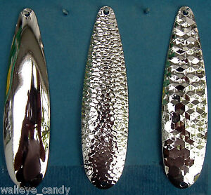 """Nickel Plated ( 4 3/4"""") Smooth Hex Hammered  Spoon Blanks .025  Walleye Candy"""