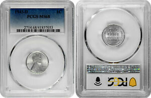 1943 D 1c Lincoln Steel Wheat Cent PCGS MS 68