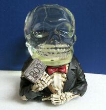 Skeleton Man Groom in Tuxedo Halloween Festive Boo Snowglobe Music Box