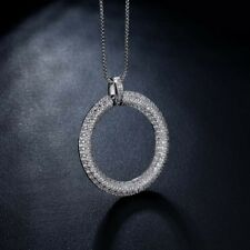 18k White Gold Big Hoop Pendant Necklace made w Swarovski Crystal Pave Trendy