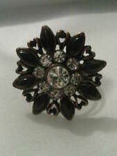Vintage/ Goth Style Adjustable Flower Ring with Brown and Clear Crystals. (J36)
