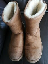 LADIES  LEATHER UGG  BOOTS SIZE UK 5.5 EUR 38 BROWN PRE OWNED