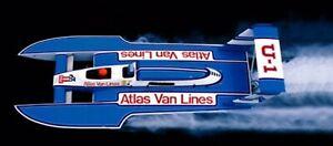 1/8 Scale 1983 Atlas Van Lines Fiberglass RC BOAT HULL DECK & COWL USA MADE !