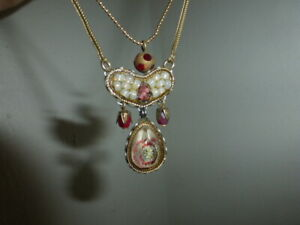 Ayala Bar Beautiful Double Strand Gold Tone Necklace w Red and Cream Crystals