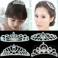 New Stunning Wedding Bridal Princess Crystal Prom Hair Tiara Crown Veil Headband