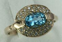 Vintage Original Rose Gold 585 14 KT Ring with Topaz, Solid Gold Ring 585 14KT