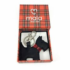 Leather BOXED Keyring Black Cute Scottie Scotty Dog MALA LEATHER Ideal Gift