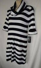 INC Womens XL Black White Cowl Neck Sweater Tunic Short Dress 3/4 Sleeve Striped