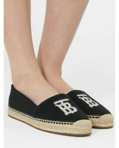 BURBERRY Tabitha leather-trimmed logo-detailed canvas espadrilles RRP $700