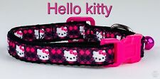 """Hello Kitty cat or small dog collar 1/2"""" wide adjustable handmade bell leash"""