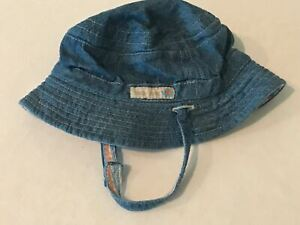 The Childrens Place Denim Hat Size 0-6 Months Baby Place Reversible with Strap