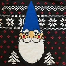 Christmas Gnome Sweater Womens XS Black White Red Blue Cap Hat Snowflakes Hearts