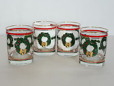 "4 Vintage Christmas wreath glasses 4 1/4"" tall"