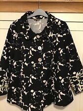 Italian designer MALIPARMI summer floral swing coat, size 44, 12, vgc, navy and
