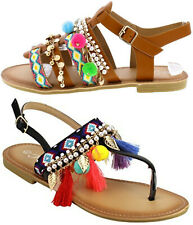 Pom Pom Tribal Charms Tassel Slingback Ankle Strap SlipOn Open Toe Flats Sandals