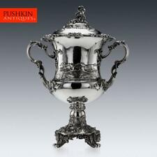 More details for antique 19thc victorian solid silver monumental trophy cup & cover, angell c1848