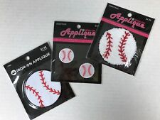 "4 Baseball Patches Appliques 3"" & 1-1/8"" Sports Jackets Hats Iron-on Stick-on"