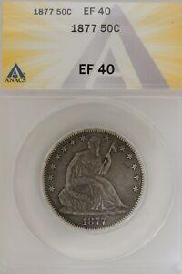 1877 .50   ANACS   EF 40   1800's Half Dollar, Liberty Seated Half