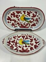 Set Of 2 - Lavorato E Dipinto A Mano Hand Painted Bird Dishes Made In Italy