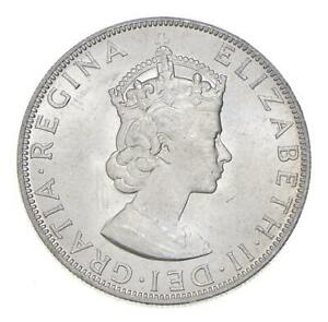 Choice BU Unc 1964 Bermuda 1 Crown Silver Coin - Mint State *766
