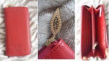 Porte feuille rouge effet cuir femme zip doré or neuf idée cadeau