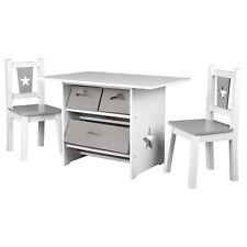 Kindersitzgruppe MDF Kindertisch+ Kinderstühle Mit 3 Schubladen Kindermöbel grau