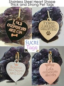 DOUBLE SIDE ENGRAVED THICK HEART ID NAME DISC PERSONALISED PET DOG CAT TAG