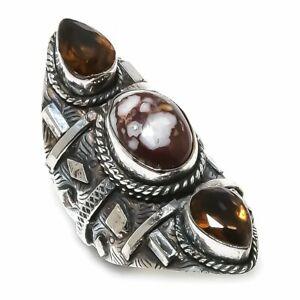 Wild Horse, Citrine Gemstone Handmade 925 Silver Jewelry Ring Size 7.5