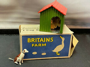 Vintage Britains LTD Dog & House Kennel Lead Collectible Figure Lot With Box HO