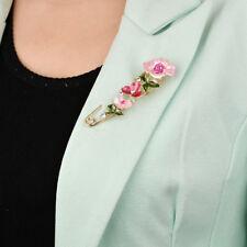 Pin Brooch Woman Collar Lapel Shan Deep Pink Large Retro Flower Rhinestone