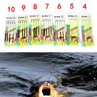 5pcs Carp Fishing Hook Link Ready Made Hair Combi Rig  Hook Ready Tied D qn